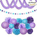XFunino Paper Lanterns Decorations Purple Pom Poms Happy Birthday Tissue Decorations Polka Dot Party Decorations for Teen, Baby Shower, Bachelorette, Purple 18 Pcs