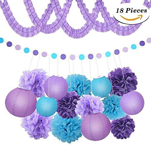 XFunino Paper Lanterns Decorations Purple Pom Poms Happy Birthday Tissue Decorations Polka Dot Party Decorations for Teen, Baby Shower, Bachelorette, Purple 18 Pcs