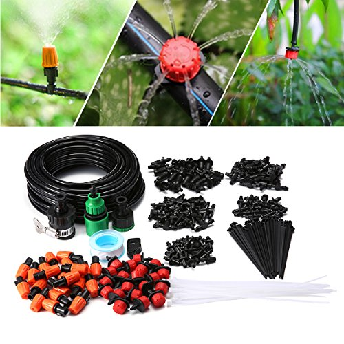 KingSo Irrigation Watering System Drip Kits Included 50 Feet Tubing Connectors Hole Puncher Atomizing Nozzle Mister Dripper and All Accessories for Plant Watering (15M 40 Pcs (Watering Drip)
