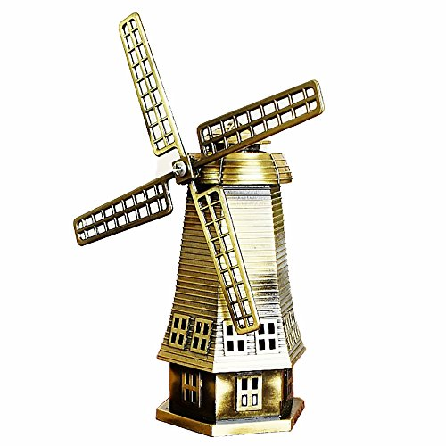 home decola Dutch Windmill, European-Style Metal Crafts, Ornaments, Retro, Alloy Bronze Windmill, Mill Model(A,Bronze)