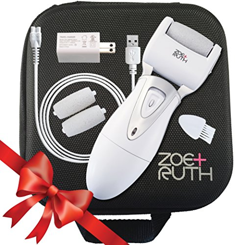 Zoe+Ruth Electric Callus Remover USB Rechargeable Pedicure Foot File Tool for Dry Cracked Dead Skin on Your Heels and Feet. International Charger, 3 Rollers & Travel Friendly Storage Case.