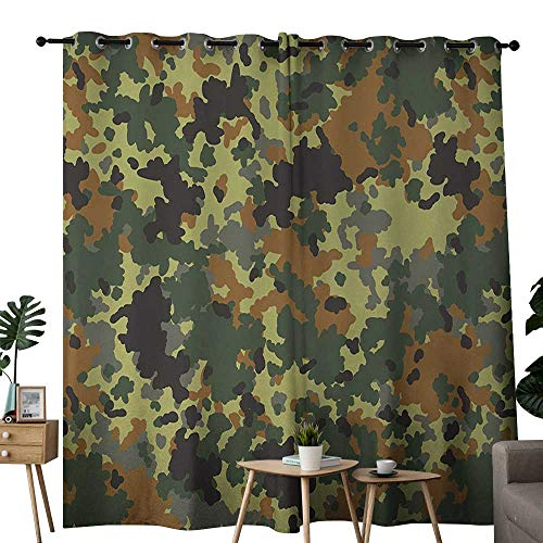 NUOMANAN Curtains Camo,Classical Germany Camouflage Pattern Forest Jungle Military Colors,Dark Green Light Green Brown,Treatments Thermal Insulated Light Blocking Drapes Back for Bedroom 54