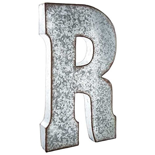 Huge 20'' Metal Alphabet Wall Décor Letter ''R'' Rusted Edge Galvanized Metal by Generic