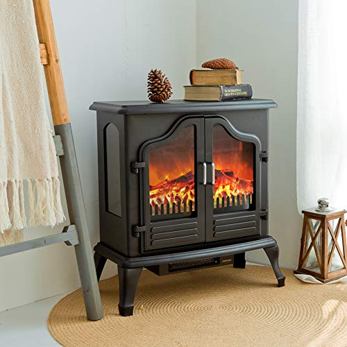 FLAME&SHADE Small Electric Fireplace, Stove Heater with Realistic Wood Flame, Portable, Free Standing, Compact Space, Remote Control, 750/1500w Heat, Black