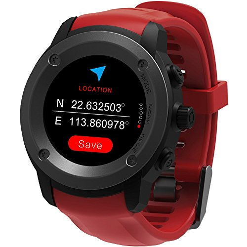 GPS Running Watch Outdoor Sports Stainless Steel Smart Watch Multi Function GPS Training Mode Distance Calorie Speed Time Count With Sleep/Heart Rate Monitor Weather Forecast Message Remind (Red) Review