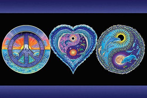 Poster Revolution Peace Love and Happiness Blacklight Pos...