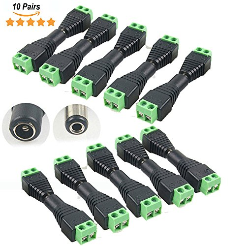10 Pairs Female & Male Power Adapter DC Barrel to Screw Plug Jack Connector to Screw Terminal 2.1x5.5MM for CCTV Camera, LED Light Strip, DC Power DIY