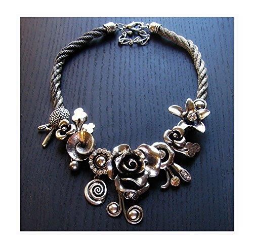 ShopForAllYou Fantasy Flower Garden Silver Statement Artsian Necklace w/Flowers And Crystals from ShopForAllYou