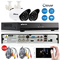 KKmoon 4CH Channel Full 1080N/720P AHD DVR NVR HDMI P2P Cloud Network Onvif Digital Video Recorder + Infrared Lamps Waterproof CCTV Camera + BNC Video Power Siamese Cable