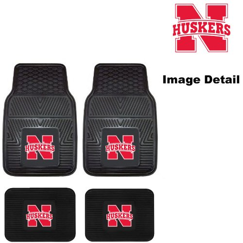[UN University of Nebraska Cornhuskers Front & Rear Car Truck SUV Vinyl Car Floor Mats - 4PC] (Nebraska Car Mats)
