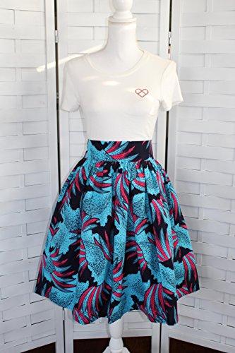 Ankara Knee Level Skirt with Pockets, Africa Fabric Summer Skirt, Tribal Short Skirt with Pockets, Ankara Skirt by Mawufemor Apparel