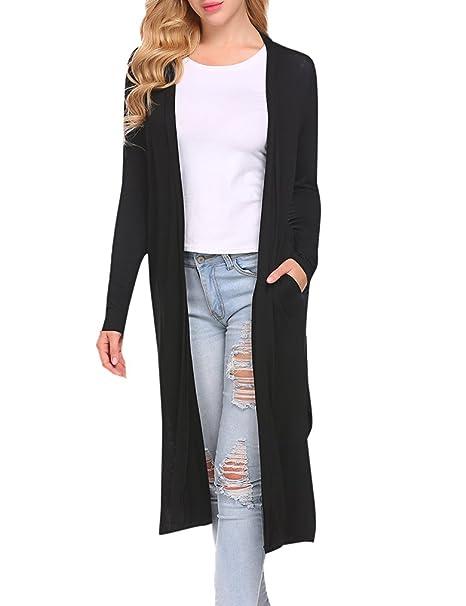 030fd8ded Locryz Women's Long Sleeve Open Front Drape Duster Maxi Long Cardigan with  Side Slits