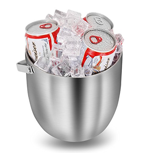 Fortune Candy Double Walled Ice Bucket,Beer Bucket for Parties,Stainless Steel Ice Tongs with Lid 2.8L/2.7 Quart (Silver) by Fortune Candy (Image #5)