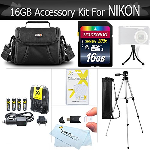 150x Speed Sd High Card (16GB Accessory Kit For Nikon Coolpix B500, L330, L340 L810 L820 L620 L830, L840 Digital Camera Includes 16GB High Speed SD Memory card + 4AA High Capacity Rechargeable NIMH Batteries And Rapid Charger)