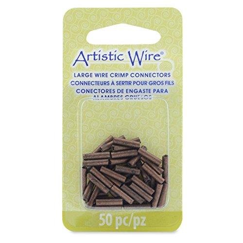 Artistic Wire Large Crimp Tubes, 10mm, Antique Copper Color, for 12 Gauge ID 2.2 mm, 50 Pieces Wire Connectors