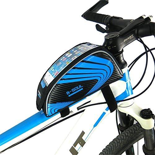 自転車電話バッグ、 タッチスクリーン5.5インチ携帯電話バッグ自転車フロントフレームマウンテンバイクマウンテンバイクサドルバッグ (Color : Blue)