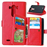 LG G3 Case,YiLin [Wallet Case] 9 Card Holder [Detachable Wallet Folio] Premium PU Leather Cover Case with [Card Slots] [Stand] for LG G3 [Red]