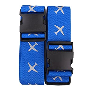 Luggage Strap, Hozone Heavy Superior Strength Extra Long Cross Luggage Strap Suitcase Travel Belt Tags, 2 Pack (Blue)