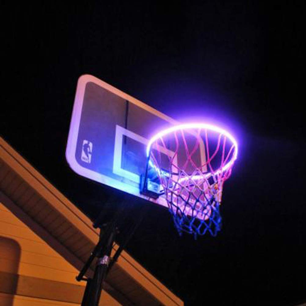 Solar LED Basketball Rim Waterproof Basketball Frame Light Basketball Net Accessories Play Outdoors For Kids Adults TAIPPAN Light Up Basketball Hoop