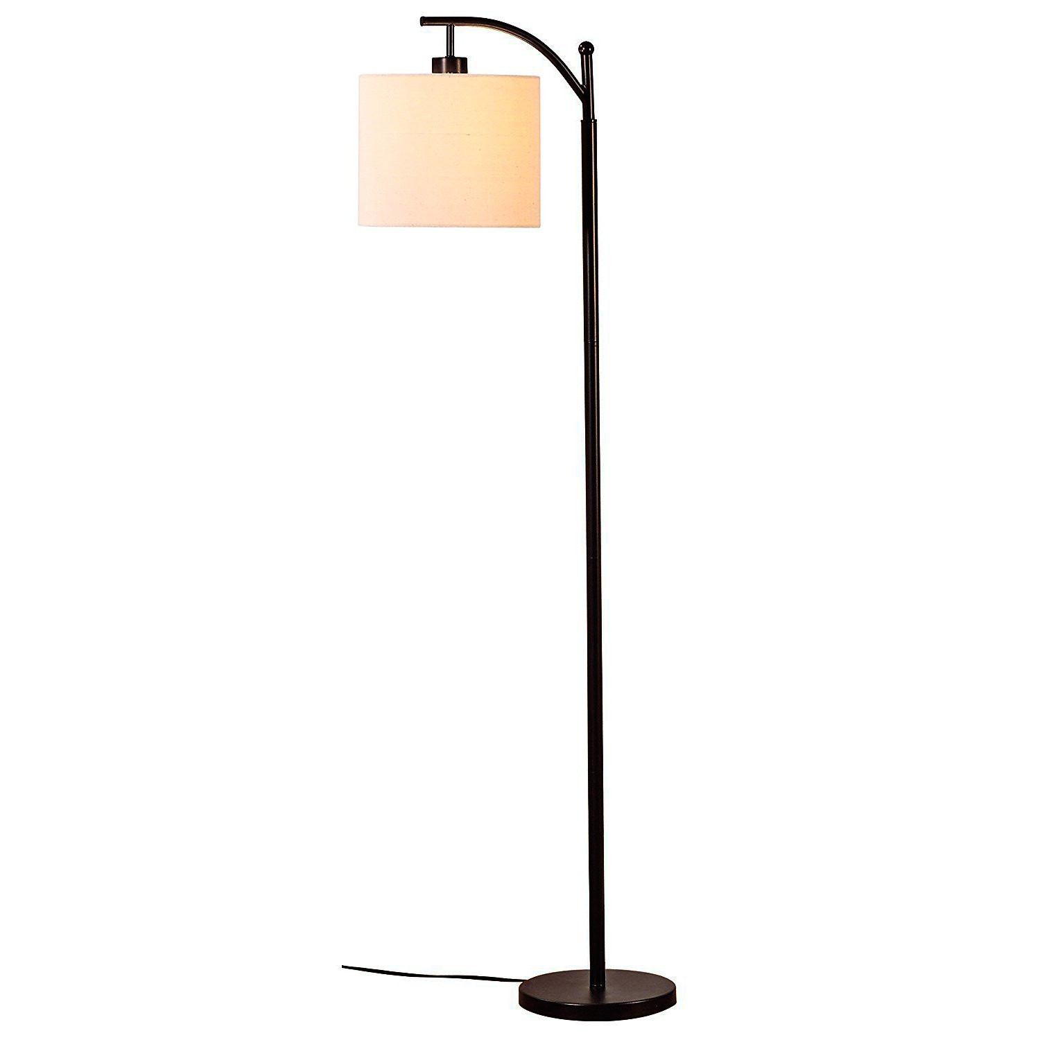 Brightech Montage Bedroom LED Floor Lamp - Alexa Compatible Industrial Arc Light with Hanging Lamp Shade - Tall Uplight Lamp for Office - with LED Bulb- Black