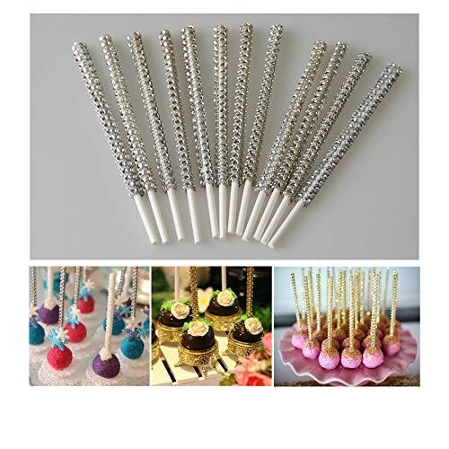 Palos de palos para tartas de color plateado con dise/ño de palos de pasteles paquete de 24 para reposter/ía decoraci/ón de fiestas de cumplea/ños