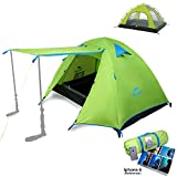Topnaca 2-4 Person 3 Season Backpacking Tent Waterproof Awning Design Two Doors Double Layer with Aluminum Rods for Outdoor Camping Family Beach Hunting Hiking Travel (Yellow Green, 3 Person) Review