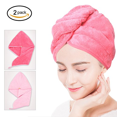 2 Pack Hair Towel Wrap, Super Soft Shower Head Towel Set, Women Microfiber Turban for Absorbent and Fast Drying(Pink + (Red Brush Cotton Hat)