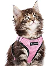 Cat Harness Small Dog Harnesses Soft Mesh Vest with Reflective Strap & Back Metal Control Clip Adjustable Neck Chest Design No Pull No Choke Escape Proof Walking Puppy, Pink