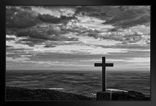 Cross in The Mountains Black and White Photo Art Print Framed Poster 20x14 inch