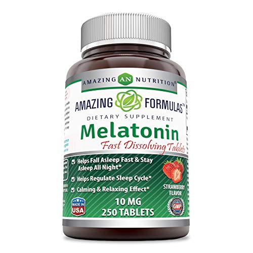 Amazing Formulas Melatonin Quick Dissolve - 10 Mg Tablets (Non-GMO) - Helps Fall Asleep Fast & Stays Asleep All Night - Helps Regulate Sleep Cycle - Calming & Relaxing Effect (250 Tablets, Strawberry)