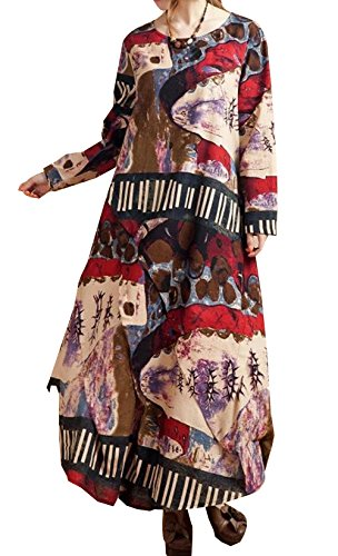 P Ammy Fashion - Vestido - camisa - para mujer Red-Coffee