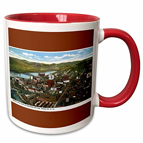 3dRose BLN Vintage US Cities and States Postcards - Birds Eye View of Business Section, Wheeling, West Virginia - 15oz Two-Tone Red Mug (mug_170771_10)