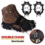 Snow Grips Crampons Traction Cleats with 18 Teeth Spikes for Winter Walking Hiking Mountaineering