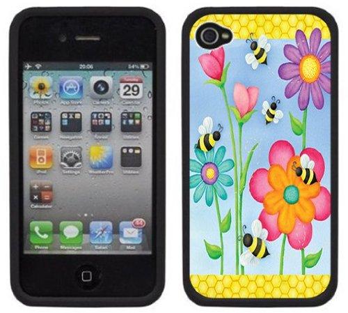 Abeilles Fleurs | Fait à la main | iPhone 4 4s | Etui Housse noir