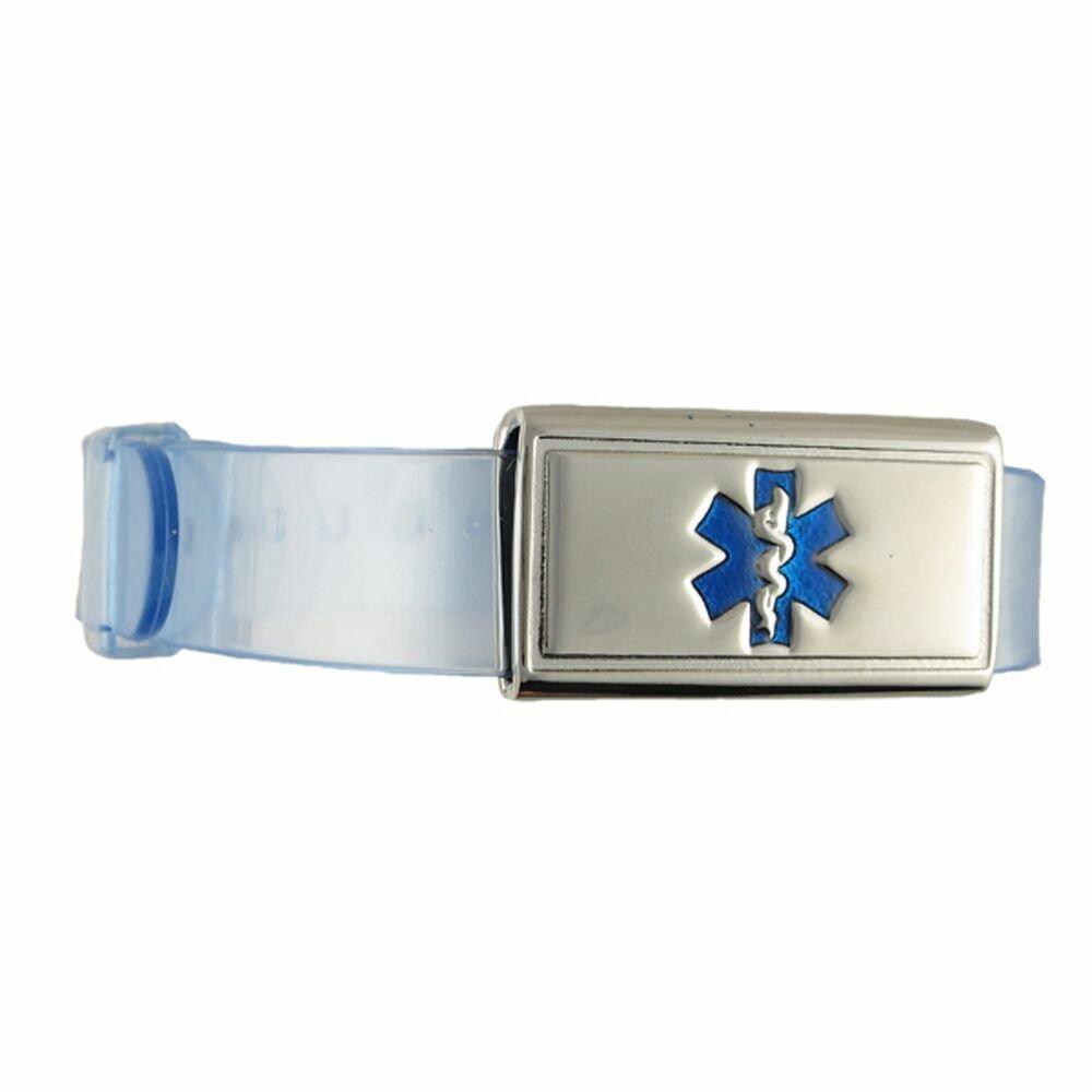Free Custom Engraving, Kid's, Child Medical Alert ID Bracelet - Adjustable Size - Jelly - Crystal Blue