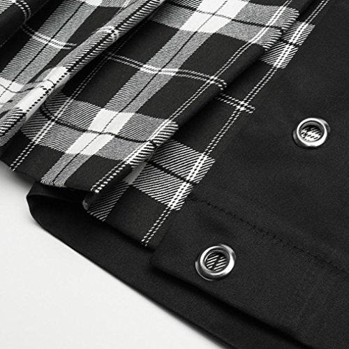 Mini Jupe Chic de Jupe Button Line Sport Sixcup Tartan Short Coton Noir A Femme Bas Courte 47q7T1wH