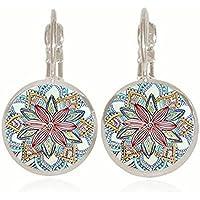ERAWAN Vintage Retro Women Glass Round Flower Ear Stud Pierced Earrings Fashion Jewelry EW sakcharn (Silver)