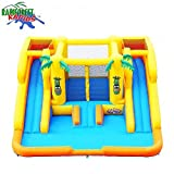 "Ultimate Deluxe Dual Water Slide Pool Park Bounce House Moonwalk Approx 15' x16' x7'H Interior 76""x70"" Slide 108""Lx22""W Wet/Dry Max Weight on Structure 500Lbs Max Weight 100Lbs Age 3+ Product 110Lbs"
