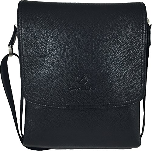 Calfskin Shoulder Bag - Zavelio Men's Genuine Leather Medium Cross Body Small Shoulder Messenger Bag Black