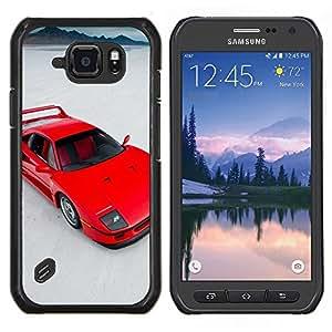 Red Sports Car- Metal de aluminio y de plástico duro Caja del teléfono - Negro - Samsung Galaxy S6 active / SM-G890 (NOT S6)