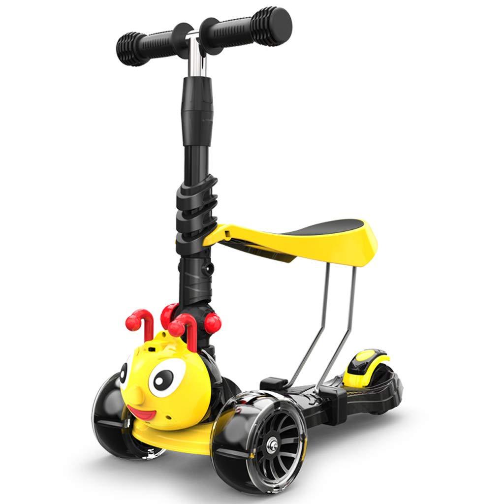 Scooter ZHAOSHUNLI Plegable 1-2-3-5 años de Edad Los niños, niños y niñas, yo-yo, Deslizante de Cuatro Ruedas Pueden Sentarse Dibujos Animados (Color : Negro)