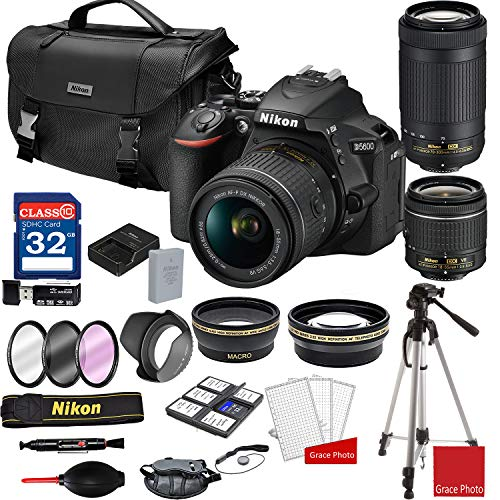 Nikon D5600 DSLR Camera with AF-P 18-55mm and 70-300mm Zoom Lenses + Nikon DSLR Camera Case + 32GB Memory Bundle (25pcs)
