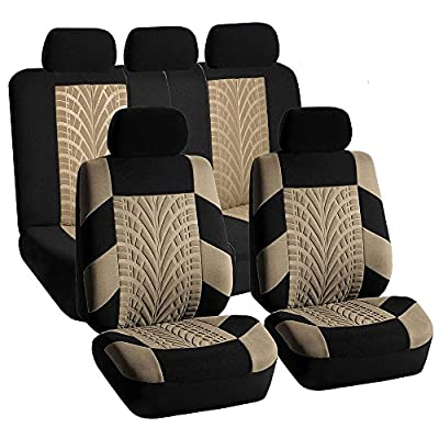FH-FB071115 Complete Set Travel Master Seat Covers Airbag Ready & Rear Split- Fit Most Car, Truck, Suv, or Van