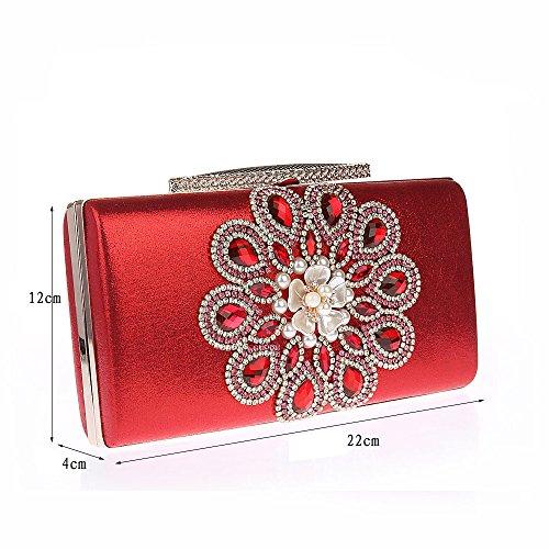 Lustré Elégant Main Chic Rétro Sac Diamanté Femme Luxueux Avec de Chaînes à Rouge Pochette Soirée 778rPR5qn