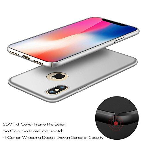 Anccer Funda iPhone X Case [Serie Colorida] [Ultra Delgado] [Anti-Drop] ultrafin Premium Carcasa (Grava Rojo) Plata liso