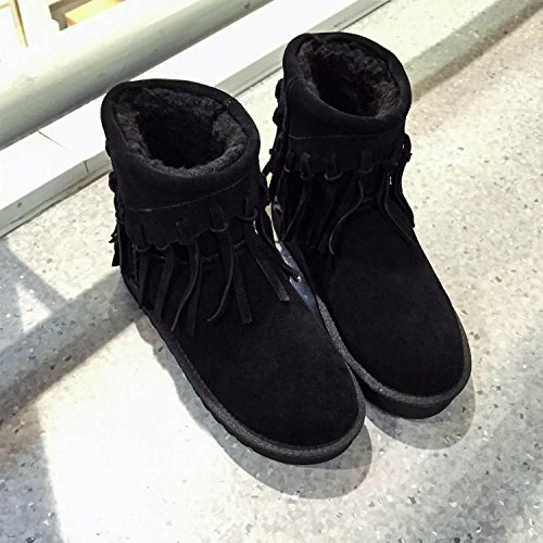 120W women BLACK cowhide 's boots cotton fringed NSXZ round boots Winter snow nOfTwqAqP