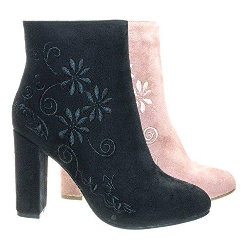 Bestow5 Black Embossed Floral Embroidery Ankle Bootie W Block Heel  Women Dress Boots  5 5