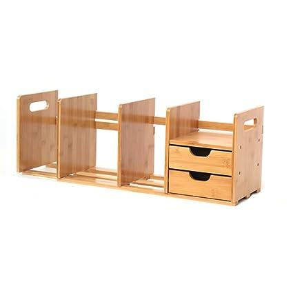 LTJTVFXQ Shelf Bamboo Desktop Rack Office Simple Bookshelf Student Child Creative Wood