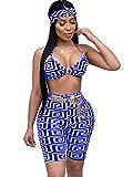 Womens Abstract Print Cami Crop Top Elastic High Waist Leggings Outfits Clubwear Blue L