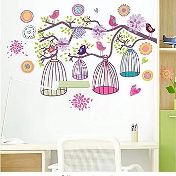 Colorida jaula de pájaros etiqueta de la pared para niños ...